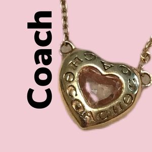 EUC Coach crystal heart shaped necklace rose gold chain